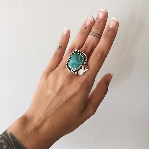 Finest Turquoise & Sterling Silver Playboy Bunny Ring — Hard Work XB88
