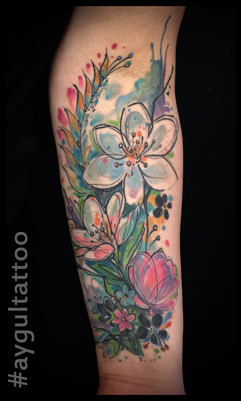 #abstract #flowers #watercolor #aygultattoo