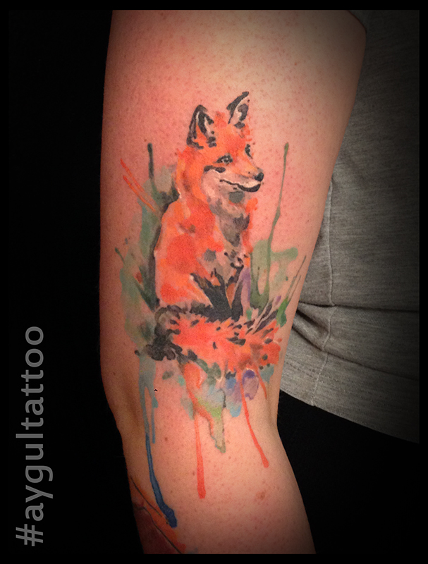 #fox #healed #watercolor #aygultattoo
