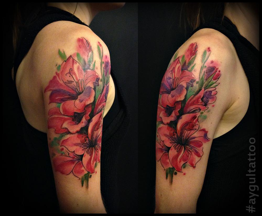 Gladiolus Flower Thigh Tattoo tattoos — aygul tattoo