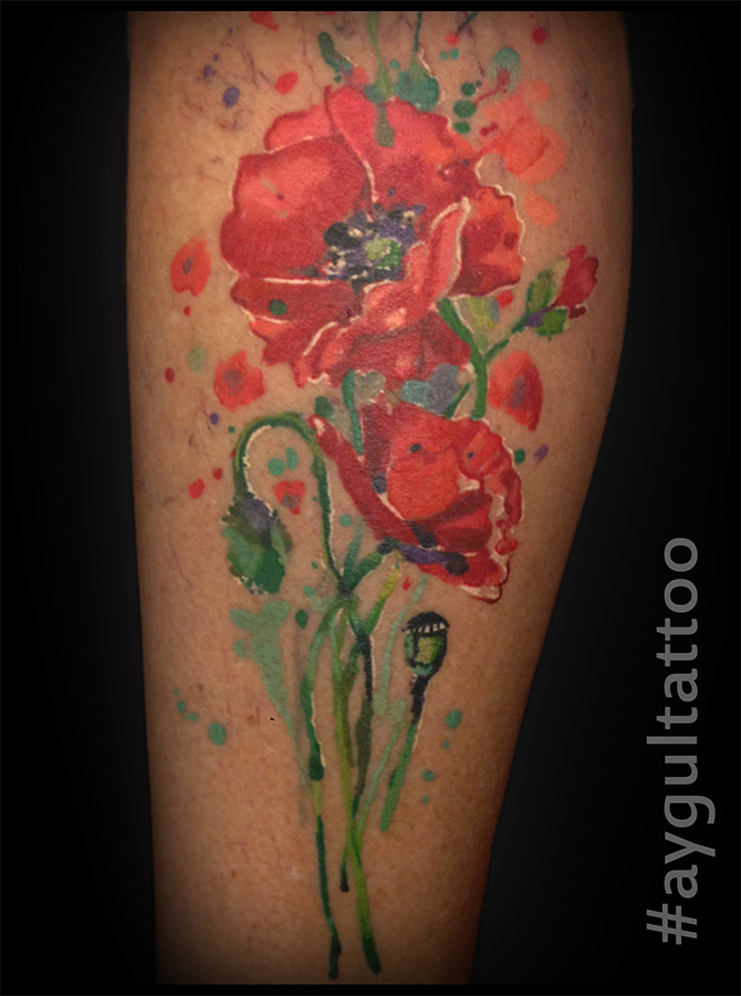 #poppy #flower #watercolor #aygultattoo