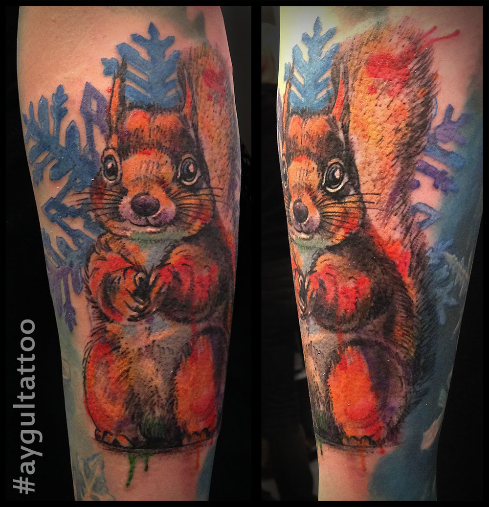 #squirrel #snowflake #color #aygultattoo