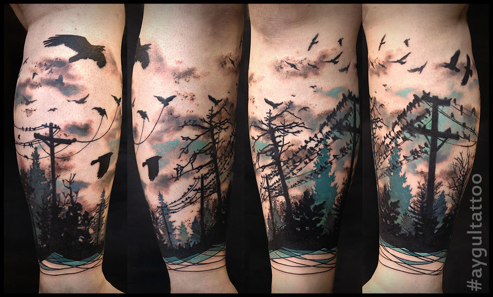 #ravens #birds #forest #color #aygultattoo