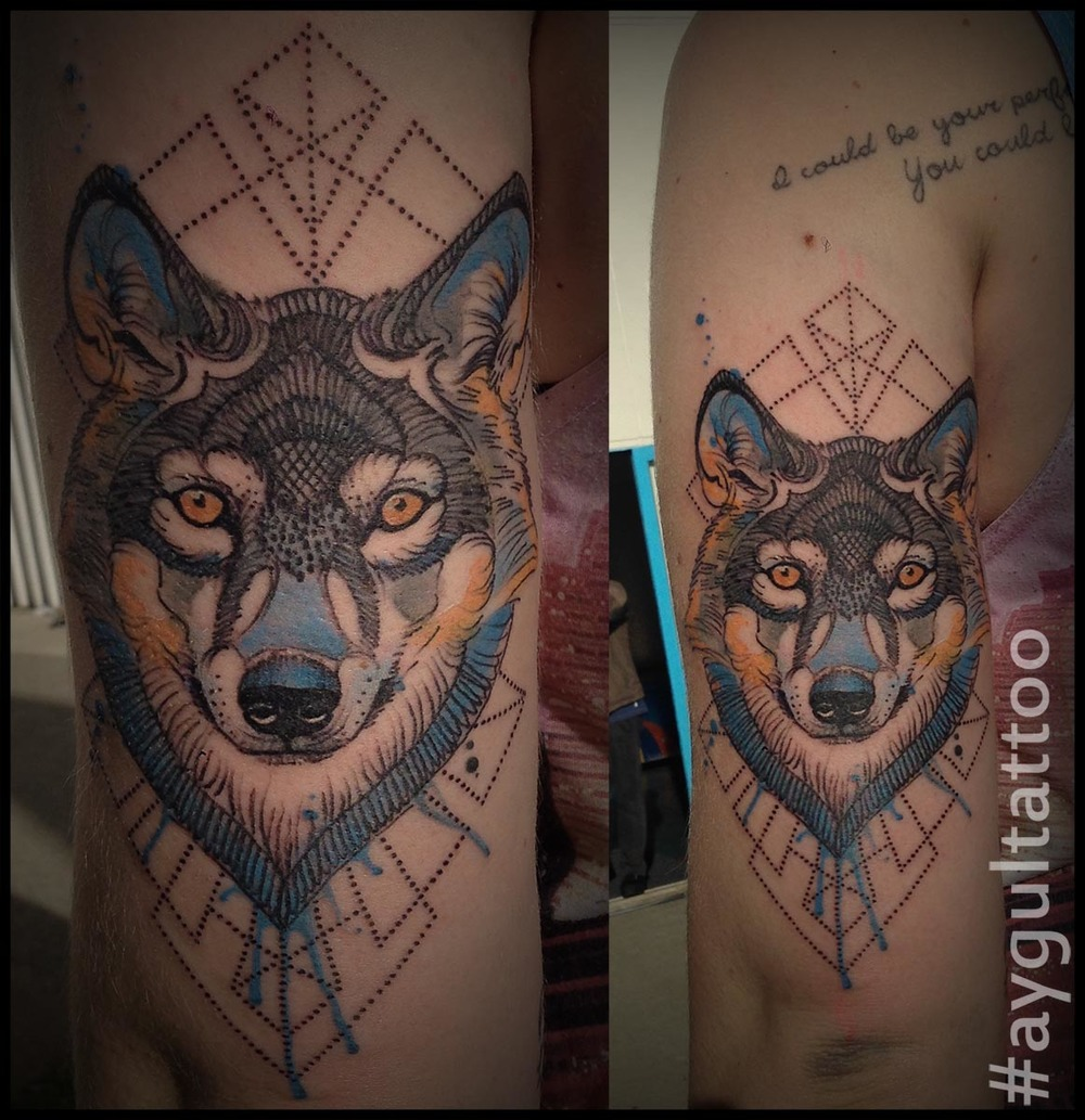 #wolf #geometry #watercolor #aygultattoo