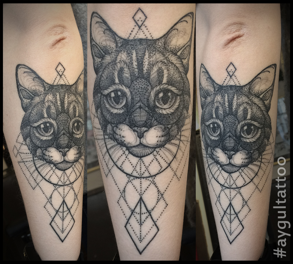 #cat #geometry #forearm #tattoo #aygultattoo