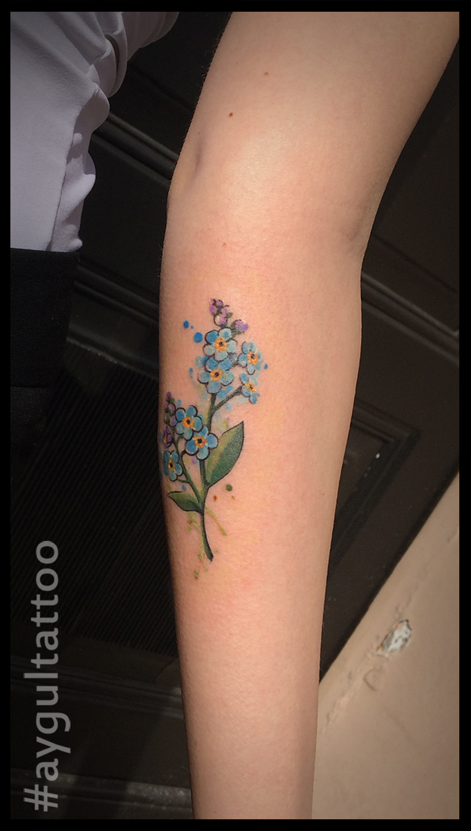 #forgetmenot #watercolor #tattoo #aygultattoo