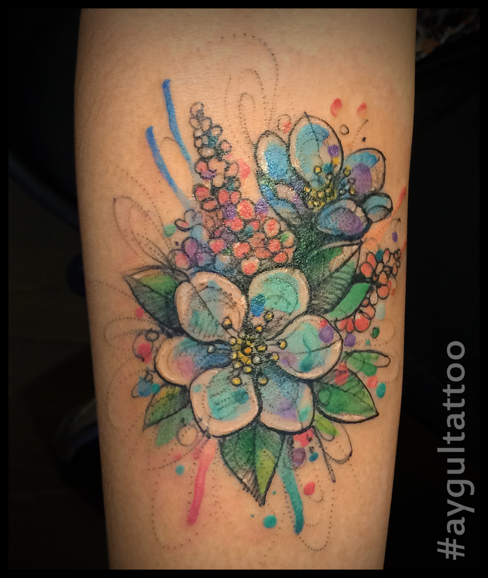 #flowers #watercolor #forearm #tattoo #aygultattoo