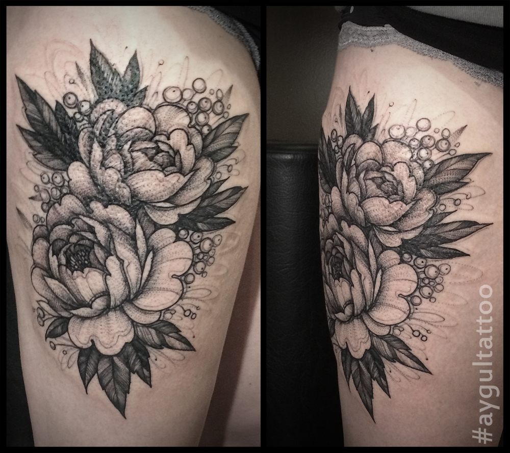 #peony #scketchy #thigh #tattoo #aygultattoo