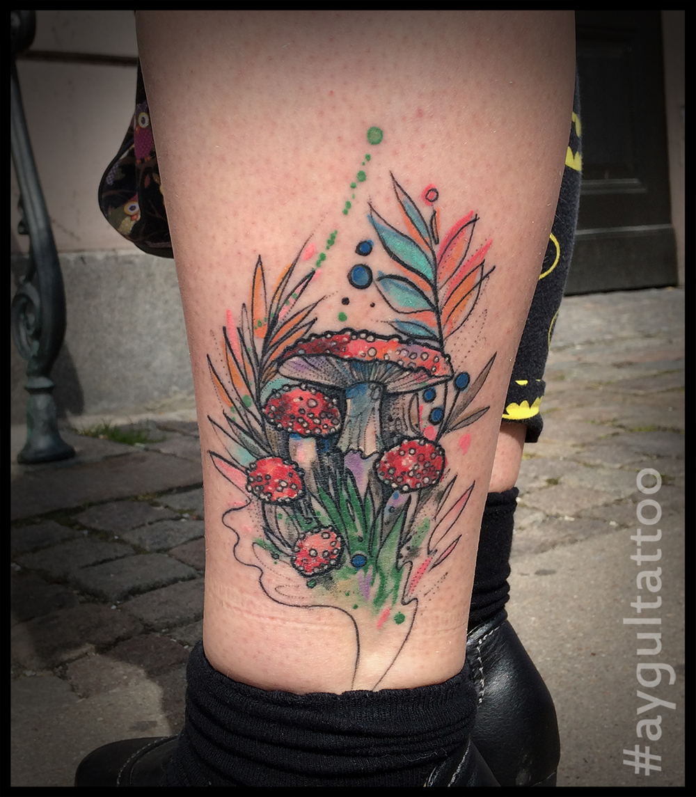 #mashrooms #watercolor #leg #tattoo #aygultattoo