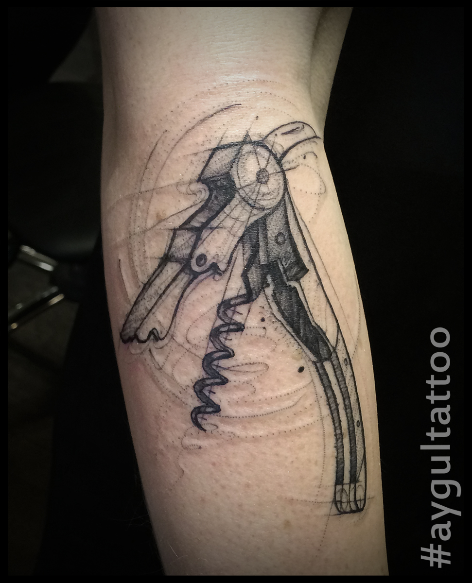 #wine #opener #sketchy #forearm #tattoo #aygultattoo