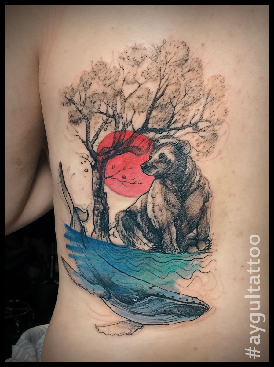 #bear #tree #sun #whale #watercolor #sketchy #aygultattoo
