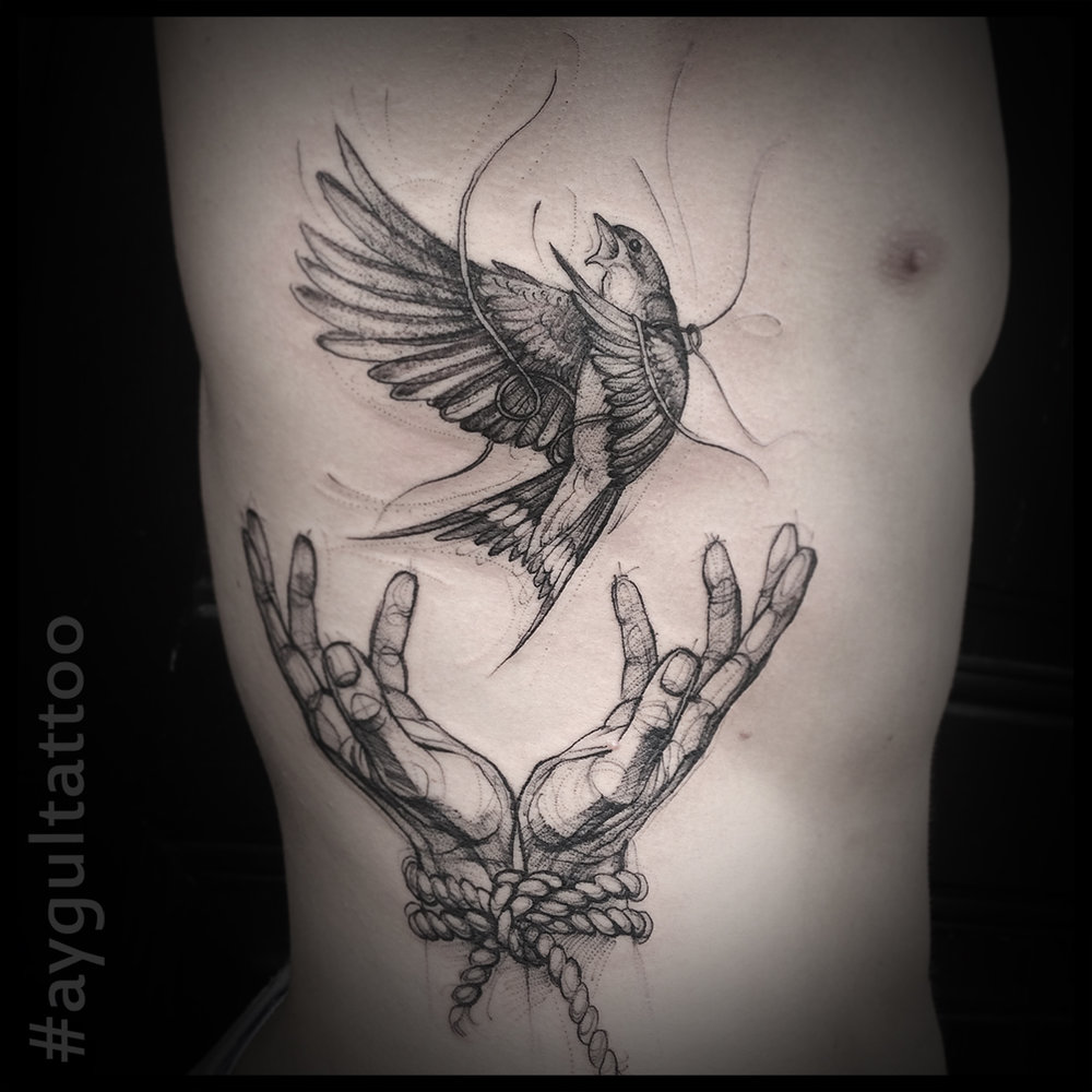 #fallen #bird #hands #sketchy #aygultattoo
