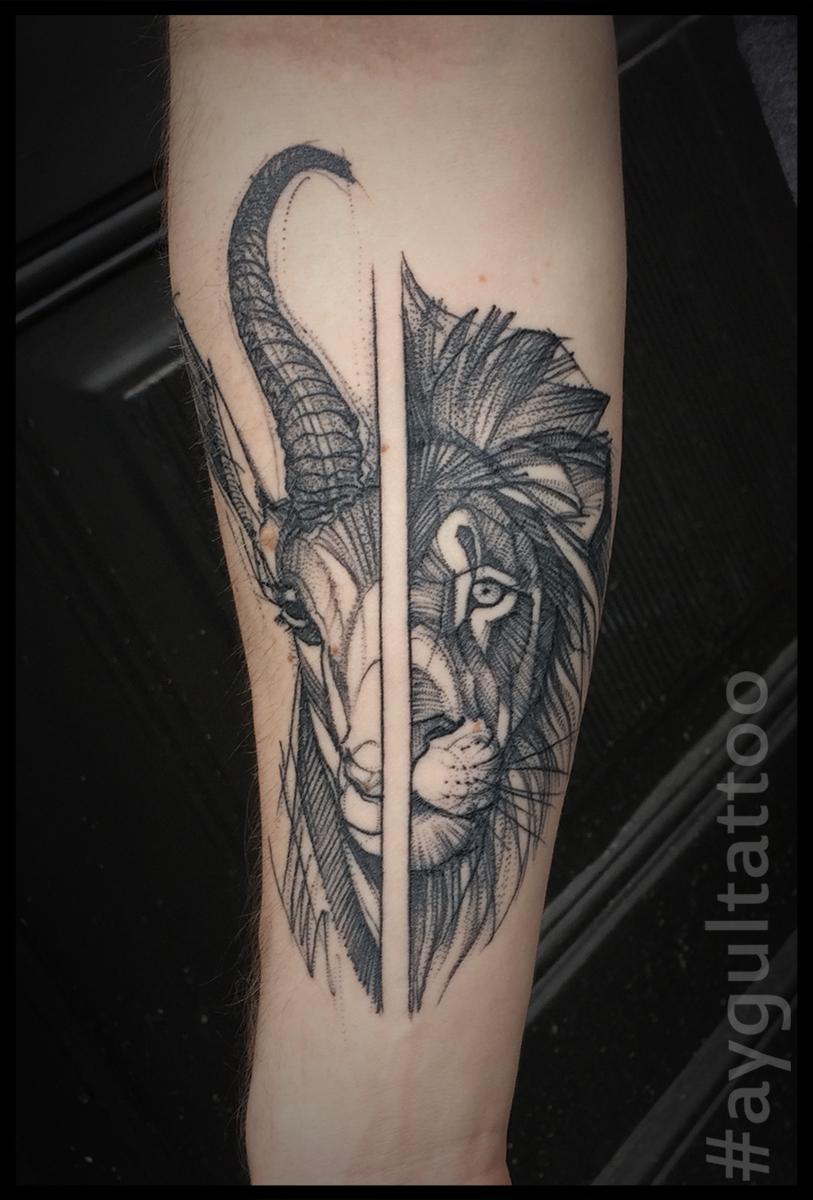 #goat #lion #sketchy #aygultattoo