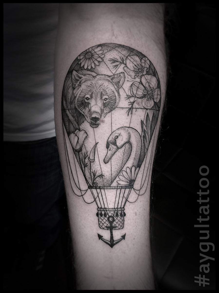 #hot #air #balloon #swan #bear #sketchy #aygultattoo