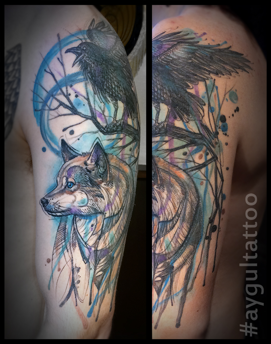 #raven #wolf #watercolor #aygultattoo