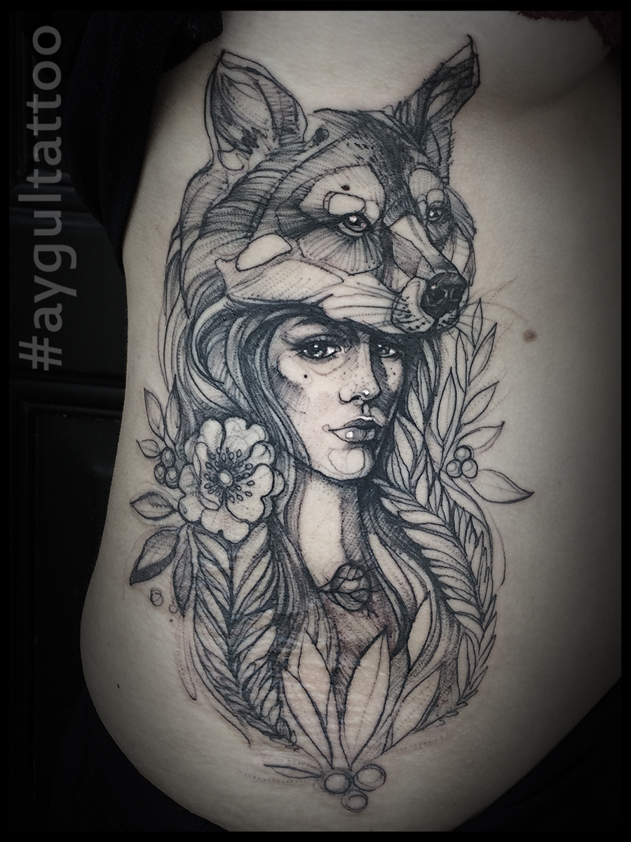 #wolf #headwear #women #sketchy #aygultattoo