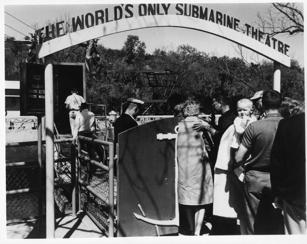Guests enter the Worlds only Submarine Theater at Aquarena Springs in San Marcos Texas.jpg