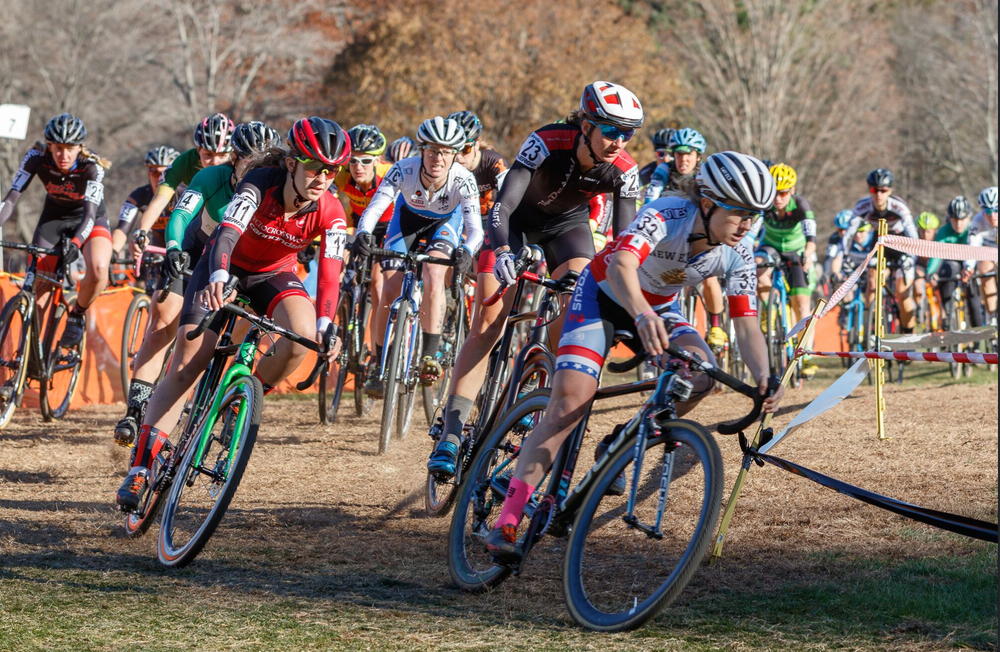 Ellen Noble leads the women's elite start of the Cycle-Smart International on Sunday. Photo by Todd Prekaski.