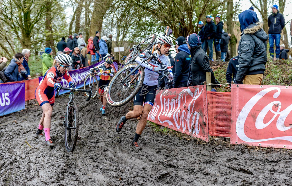 Ellen Noble and British champion and eventual race winner Helen Wyman (Kona) battle the slick mud at Flandriencross on November 29. It was one of the most technically challenging courses of the year and Noble had her best World Cup finish yet. UCI photo.