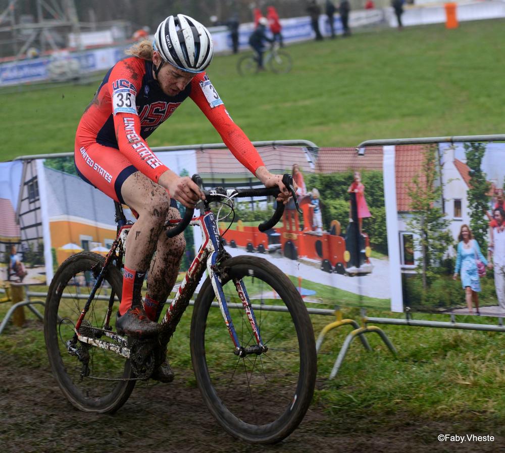 Scott Smith racing in his first-ever European World Cup, dredges through the mud of Hoogerheide, Netherlands on Jan. 24. Photo by Fabienne Vanheste.