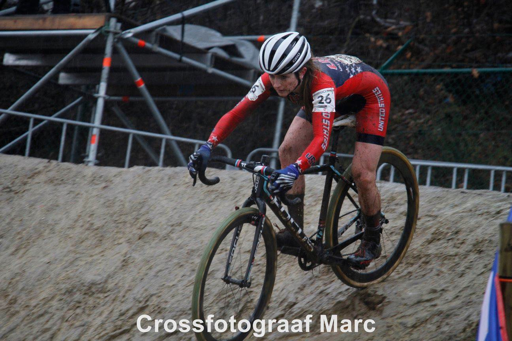 Noble's control on the technical descents helped her regain seconds on other riders. This particular part of the course had some of the most slippery mud and deep ruts. Photo by Marc Deceuninck.