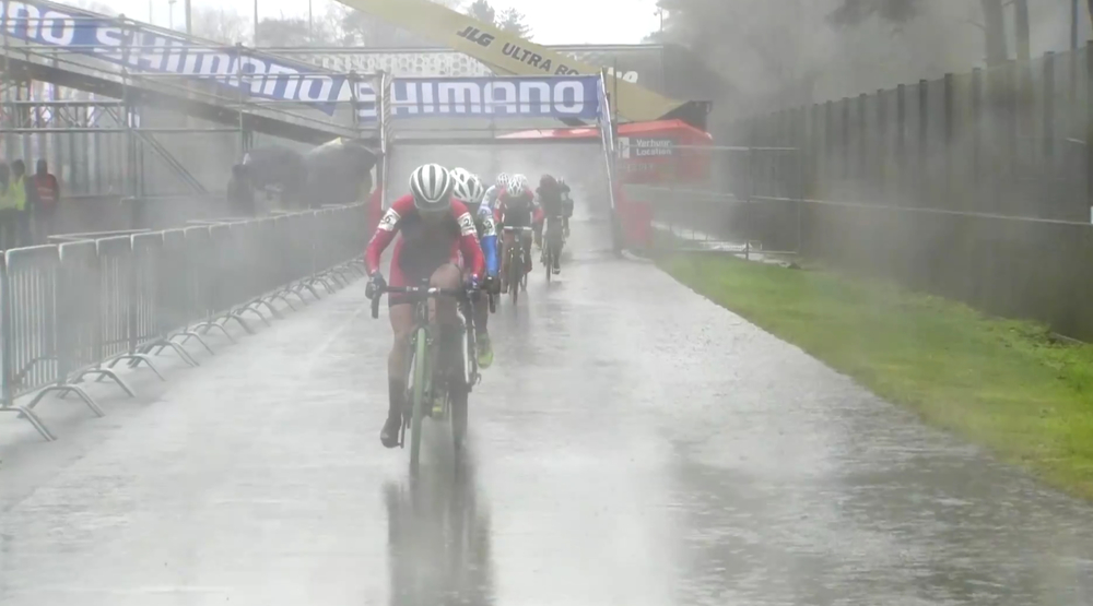 This image from the live broadcast reveals the torrential downpour in the early part of the women's U23 race.