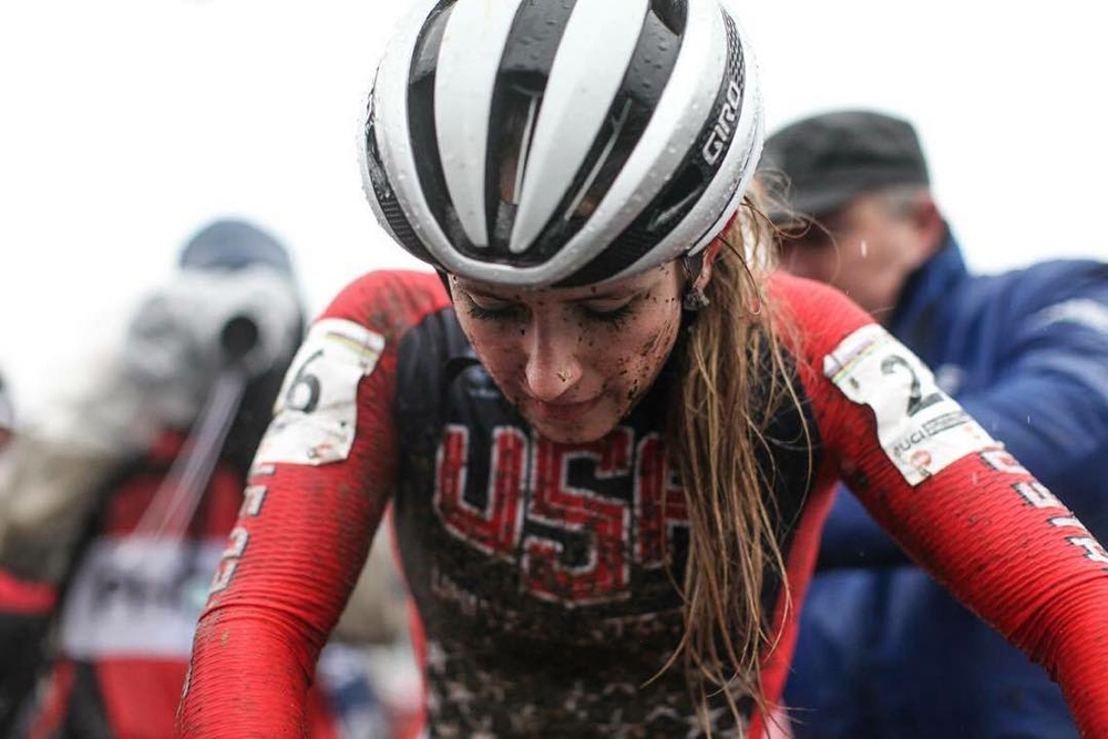 "Exhausted but pleased at the end of the race. ""I'm extremely happy for this hard-fought result on such a demanding and soaking wet course,"" Noble said. Photo by Meg McMahon."