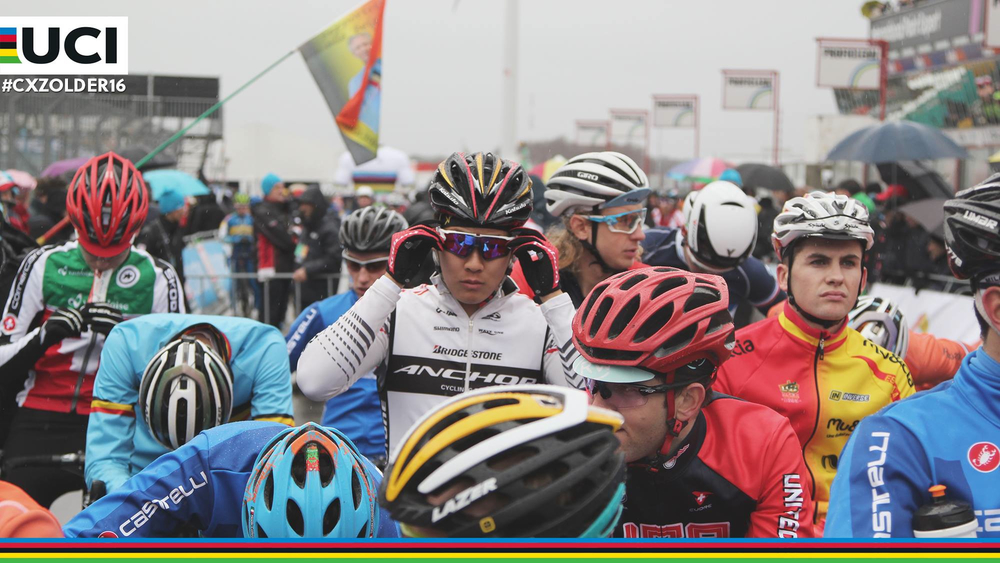 Scott Smith (looking off to the right), got a fourth row start in the men's U23 race on Jan. 31. UCI image.