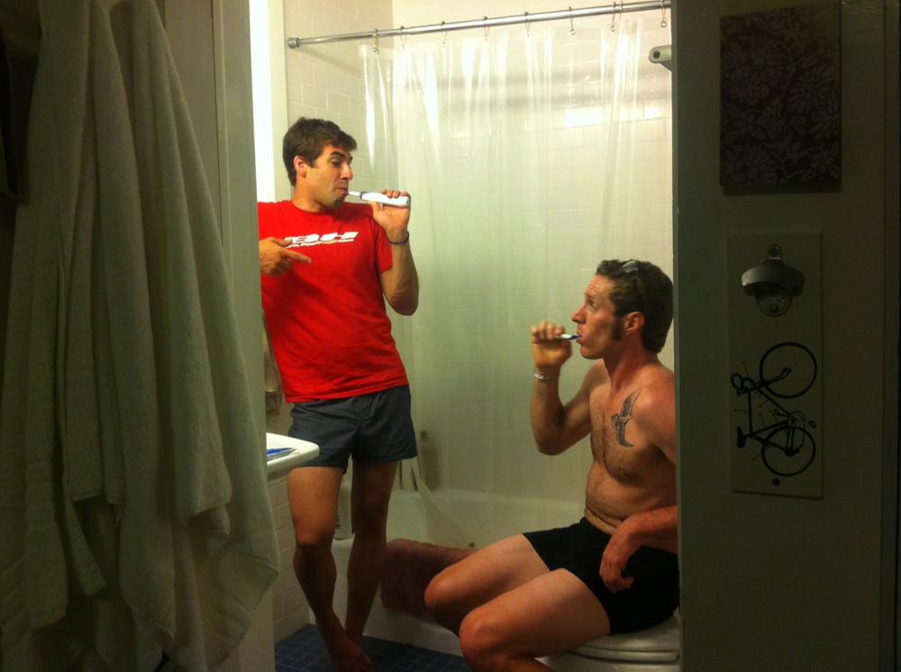 Huff shares a bro moment in Mukunda Feldman's bathroom the week of the 2015 Grand Fundo.