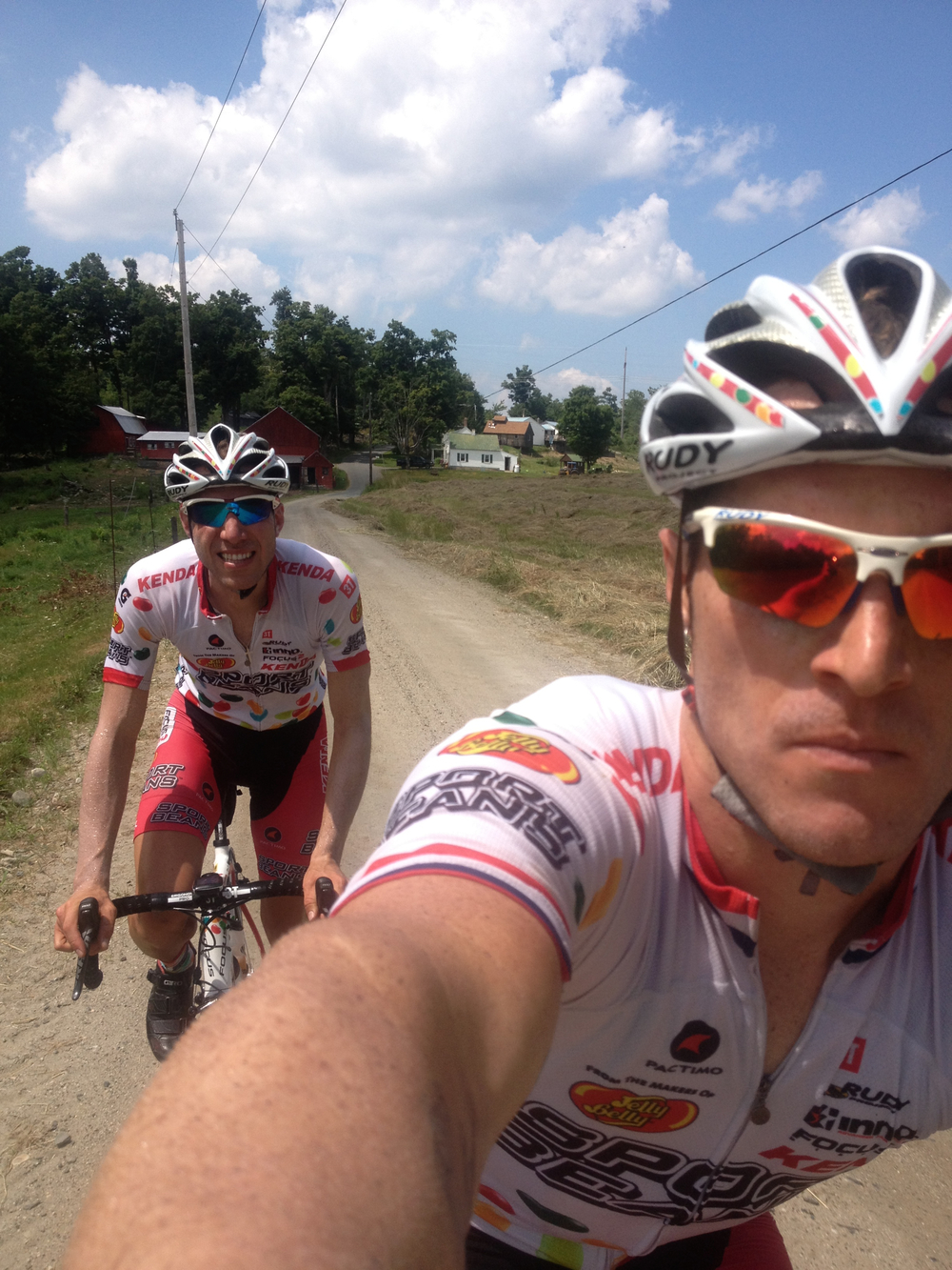 Huff and Powers raced together on the road for the Jelly Belly Cycling Team during 2008 to 2013.