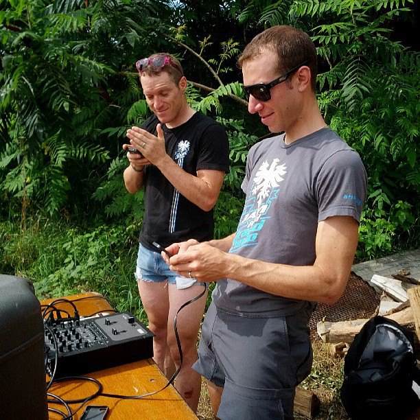 "Brad Huff in his ""Daisy Dukes"" and Jeremy Powers set up for the 2013 Grand Fundo. Courtesy Brad Huff."