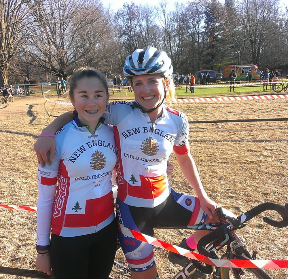 Anna Savage with her mentor, U23 Cyclocross National Champion Ellen Noble at the Verge New England Cycle-Smart International in November 2015.