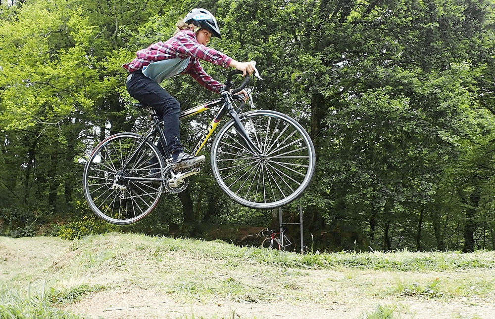 Beau Guenther catching air while playing around on his cross bike in France. Photo by Greg Guenther.