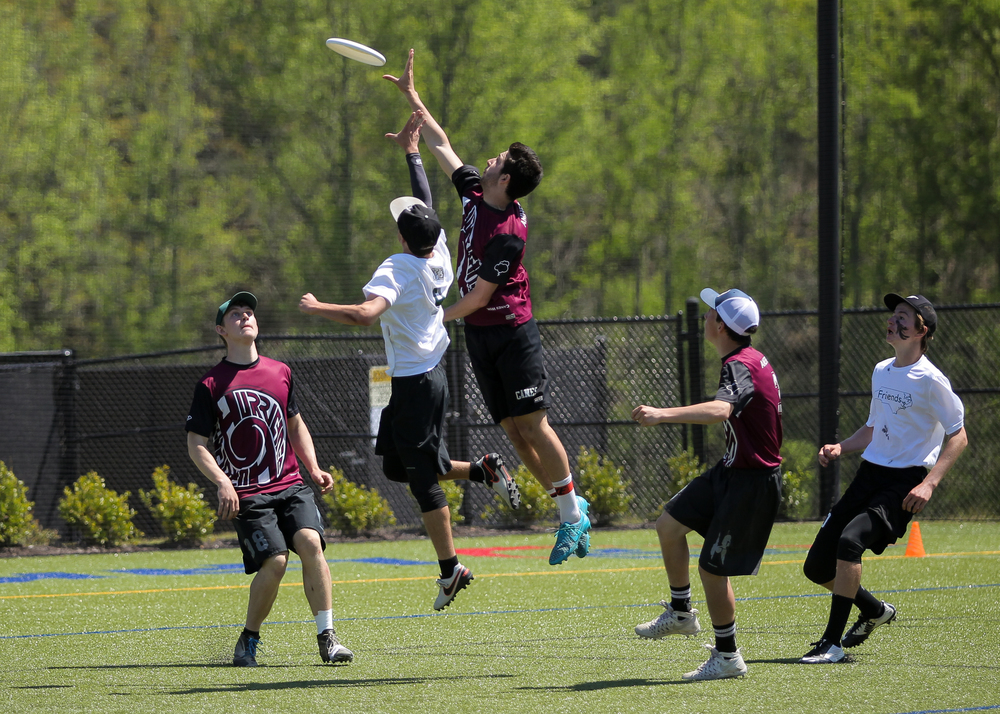 Kale Wenczel (far left) and his team, the Amherst Regional High School Hurricanes, won the Paideia Cup Ultimate Frisbee tournament in Atlanta, Georgia on April 17. Photo by Christina Schmidt.