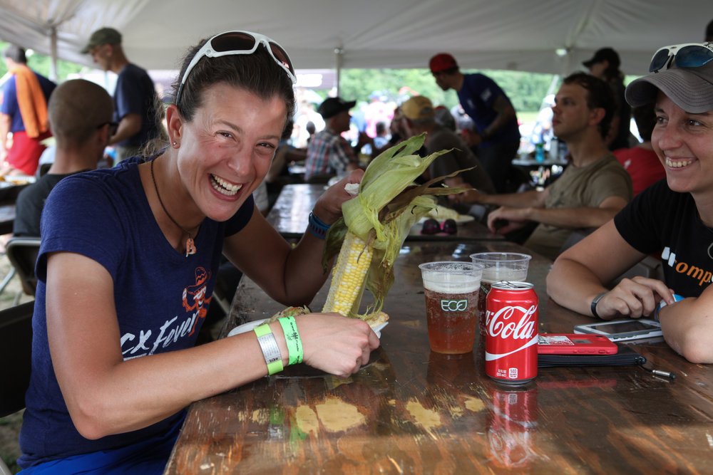 Enjoying the post-ride feast in the shade of the Fundo's big tent. Photo by Meg McMahon.