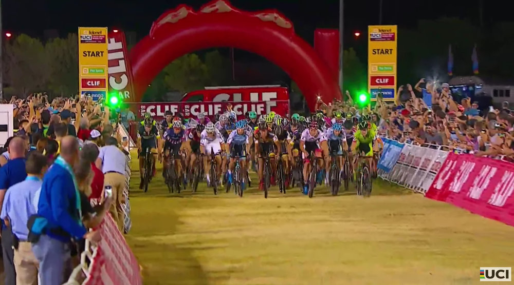 Fifty-eight riders sprint at the blistering start of the men's race at Cross Vegas World Cup on Wednesday night. Look closely over the shoulder of the world champion in white and you'll see Scott Smith in his white Kask helmet.