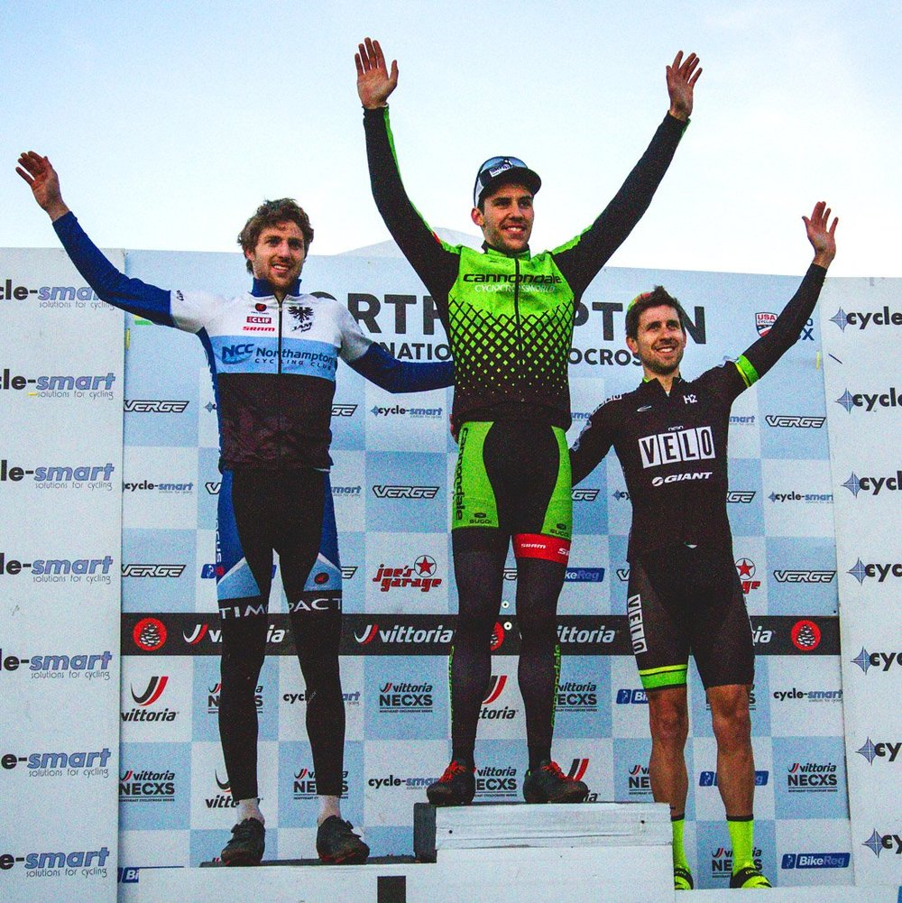 The men's elite podium on Saturday with Jack Kisseberth (JAM/NCC) in second place, Curtis White (Cannondale/CyclocrossWorld) in first and Jeremy Durrin (Neon Velo) in third. Photo courtesy Northampton Cyclocross International.