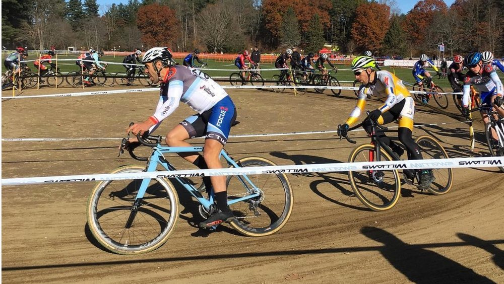 JAM Fund Coach Al Donahue led the charge of the 35+ race on day one. He rallied to fourth place on Saturday, and on Sunday he finished sixth. Photo by Northampton Cyclocross International.