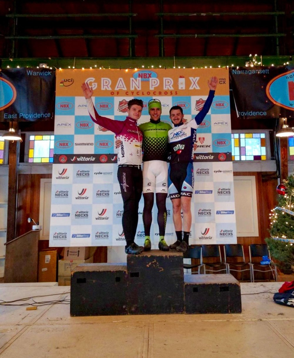 Trent Blackburn (right) was the third U23 finisher at the Dec. 3 Gran Prix of Cyclocross. He finished 13th among all riders in the elite category.