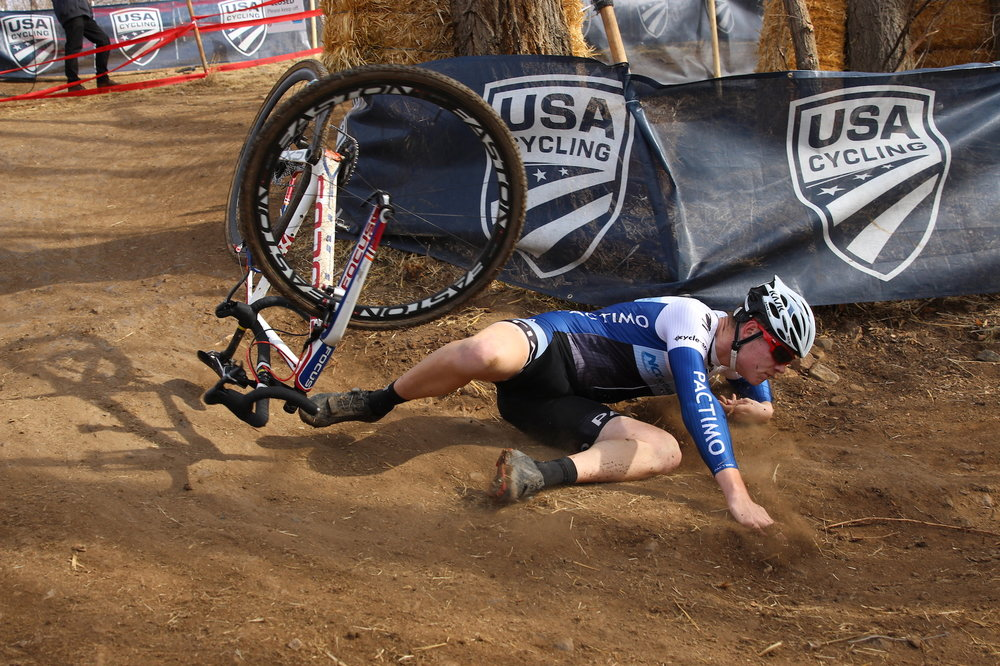 Chris Norvold flipped over the bike and kissed the dirt on the hard turn that tripped up several riders. He hurt his left shoulder and was forced to quit. Photo by Vicky Sama.