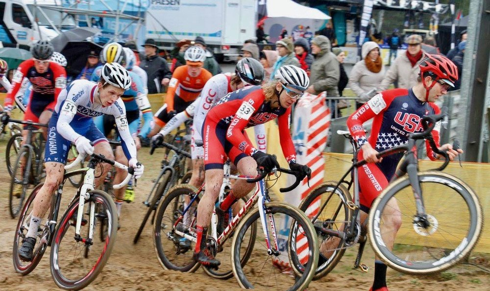 In one of the highlights of his career, Smith, #33, represents Team USA in his first U23 World Championships in Heusden-Zolder, Belgium on Jan. 30, 2016. Photo by Marc Deceuninck.