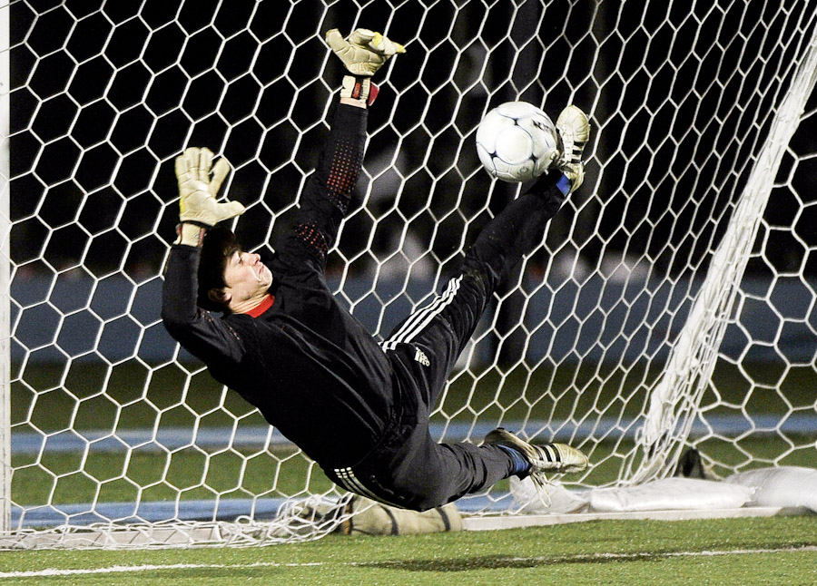 saving soccer goal