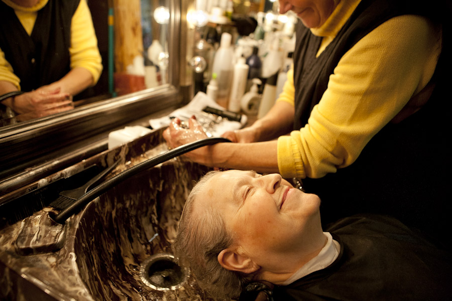 washing hair at a salon