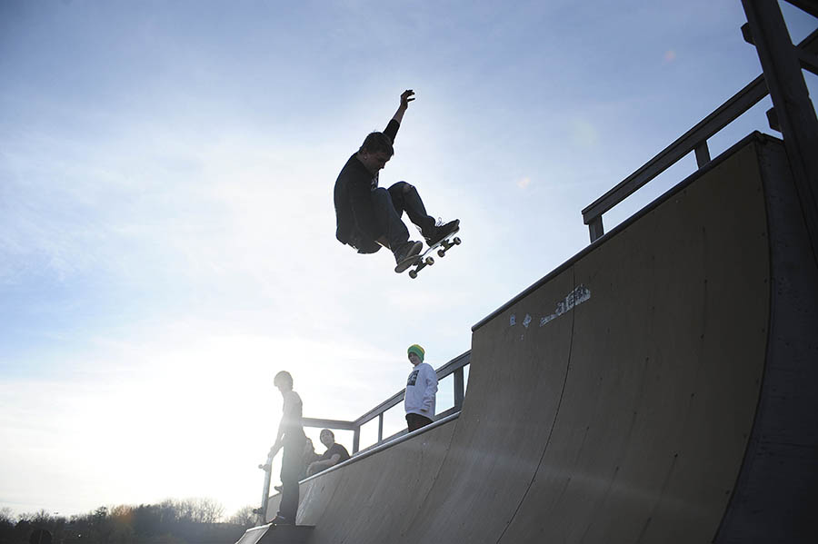 Josh Powell rides his skateboard on the skate ramp at Gypsy Hill Park on Monday, Feb. 18, 2013, in Staunton.