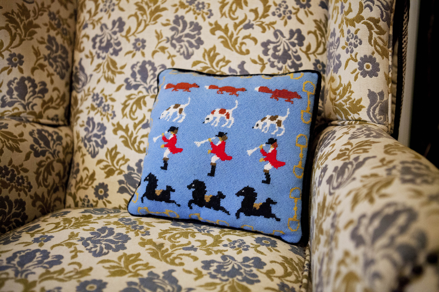 A fox hunting pillow sits on an armchair in the office of Middlebrook Hunt Club Huntsman Fred Getty in Middlebrook. Getty is an active sportsman and has hunted around the globe, from Africa to Canada.