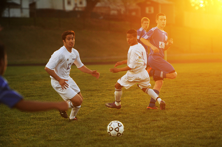 Waynesboros' David Oliver and Denny Jimenez watch the ball during the soccer game on Friday, April 12, 2013, in Waynesboro.