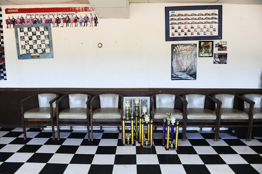 Trophies and racing memorabilia decorate the office at Natural Bridge Speedway on Saturday, June 29, 2013, in Natural Bridge. Drivers, depending on their division, can win prizes from $300 to $1,500 in a race.