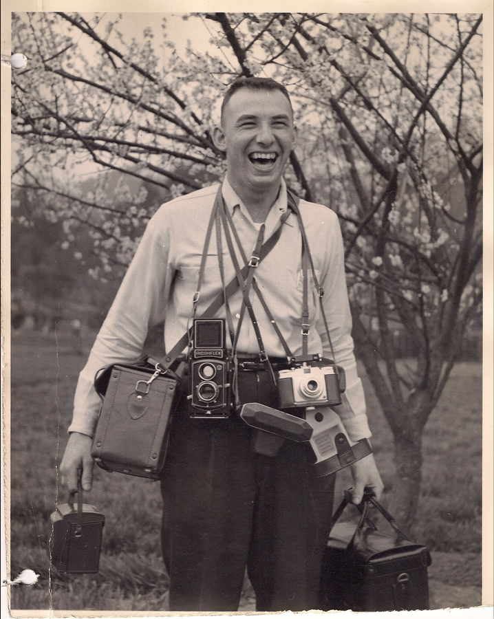 A photograph of Roland C. White while serving in the Air Force in the 1950s. Him and his military buddies took a lot of photographs during their service, though did not continue the hobby later on in life.