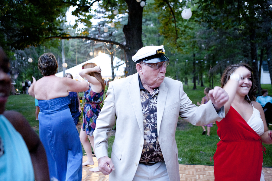 Roland White dances during the wedding of his niece, Julia Tebben, in Brookings, S.D. in the summer of 2012.
