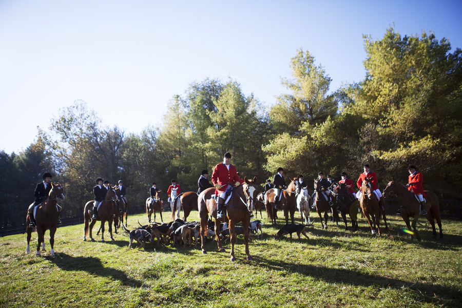 Hunters gather for a photograph before the opening hunt with the Middlebrook Hunt Club on Saturday, Oct. 26, 2013, in Middlebrook.
